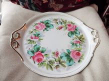 VINTAGE VERY LARGE ROUND CHARGER GILDED CHINA TRAY HANDPAINTED PINK ROSES 16""